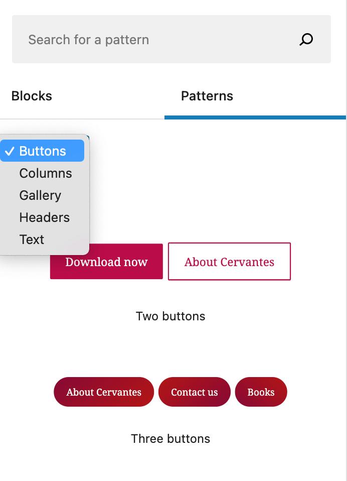 screenshot of Block Patterns inside of the WordPress editor