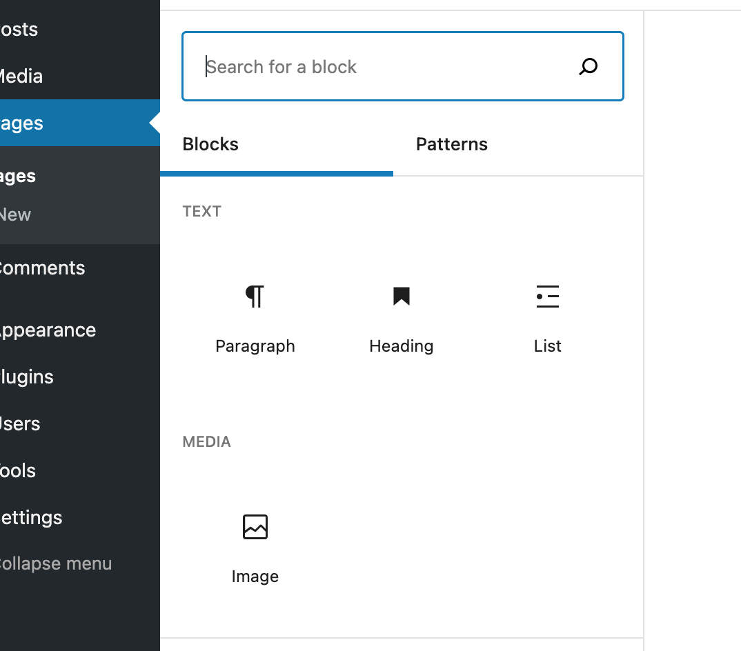 screenshot of block options